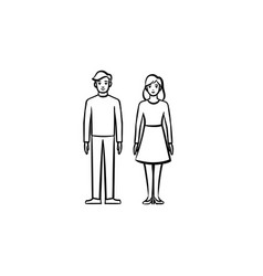 couple in love hand drawn sketch icon vector image