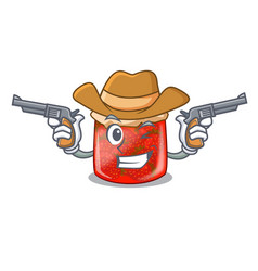 Cowboy character homemade strawberry marmalade in vector