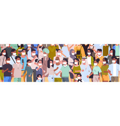 crowd people wearing medical masks novel vector image