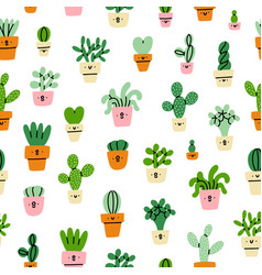 Cute little prickly cactuses cartoon pattern vector