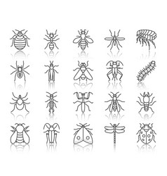 Danger insect simple black line icons set vector