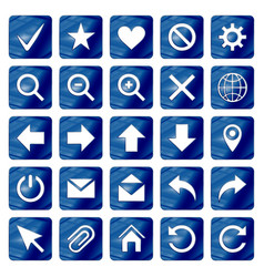 Dark blue colored metal chrome web icons set vector