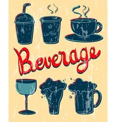 Different kind beverage in vintage design vector