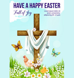 easter cross with spring flower greeting card vector image