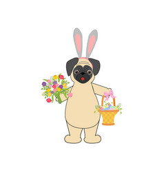 Easter pug with basket vector