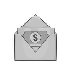 Envelope with money icon black monochrome style vector image
