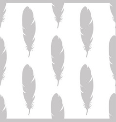feather seamless pattern in gray colors vector image