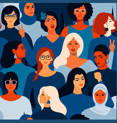 female diverse faces different women seamless vector image