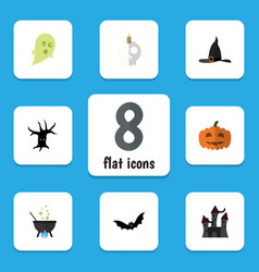 Flat icon celebrate set of phantom witch cap vector