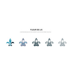 Fleur de lis icon in different style two colored vector