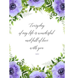 Floral greeting card postcard with anemones vector