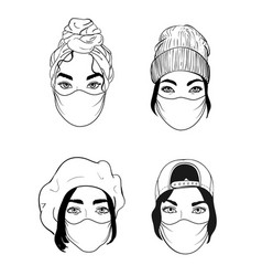 four women faces in disposable medical surgical vector image