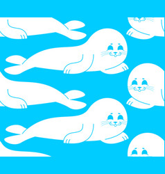 Fur seal white pattern small sea calf ornament vector