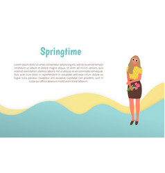 Girl standing with flower in springtime vector