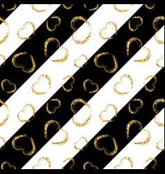 Gold heart seamless pattern black-white geometric vector