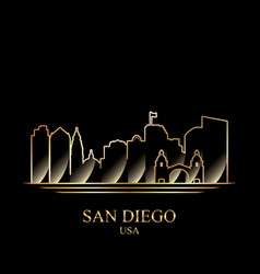 gold silhouette san diego on black background vector image