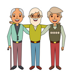 Group the three old men embraced happy people vector