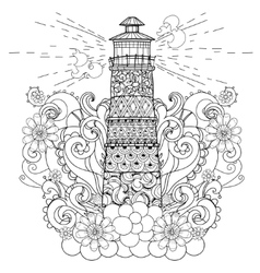 Hand drawn doodle outline lighthouse boho vector