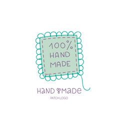 hand made logo patch hobby icon vector image
