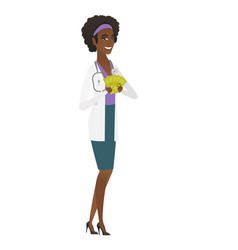 Happy african-american doctor holding money vector