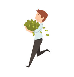 happy wealthy businessman running with lot of vector image