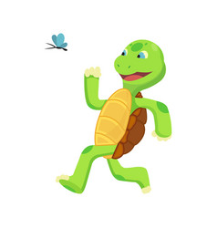 happy young cartoon turtle run at butterfly fanny vector image