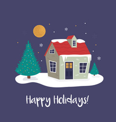 holiday christmas landscape of a cosy vector image