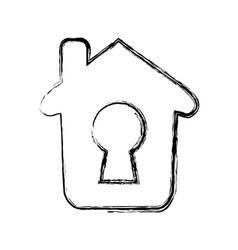 Home keyhole pictogram vector