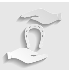 Horseshoe sign Paper style icon vector image