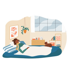 Ill female character is lying in bed covering vector