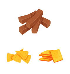 Isolated object food and crunchy sign set of vector