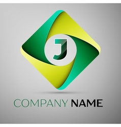 J letter colorful logo in the rhombus template for vector image