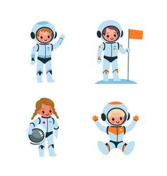 Kids astronauts cartoon boys and girls vector