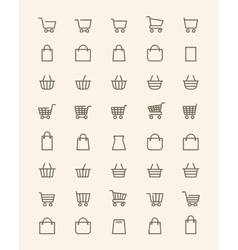 Linear shopping basket icons vector
