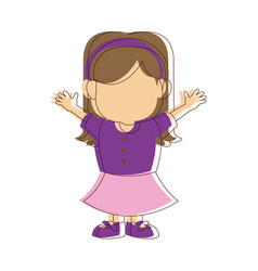 little girl kid character standing people vector image