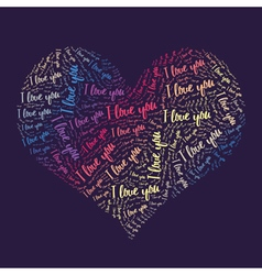 Love words heart vector