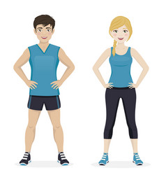 Man and woman playing sport with blue sportswear vector