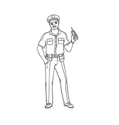Man black policeman in uniform and cap with a vector