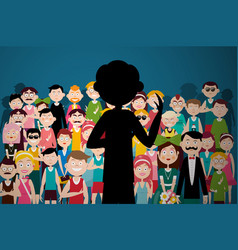man speaking to audience person silhouette on vector image