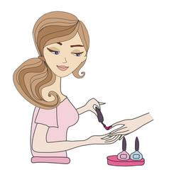 Manicurist applying nail polish vector
