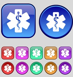 Medicine icon sign A set of twelve vintage buttons vector