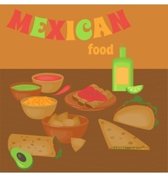Mexican traditional food set traditional cusine vector