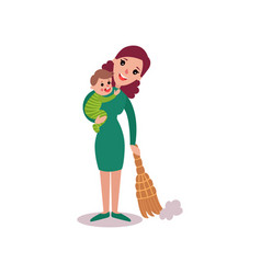 Mother sweeping the floor with baby in her arms vector