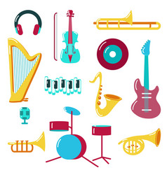 music icon set flat style vector image