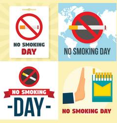 no smoking day banner set flat style vector image