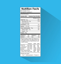 Nutrition facts food label information healthy vector