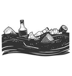 Ocean pollution sketch vector