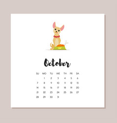 october dog 2018 year calendar vector image