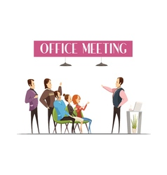 Office Meeting Cartoon Style Design vector image