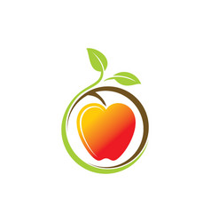 Organic fruit apple nature logo vector